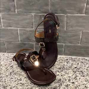 Coach Sandals Maroon and Gold